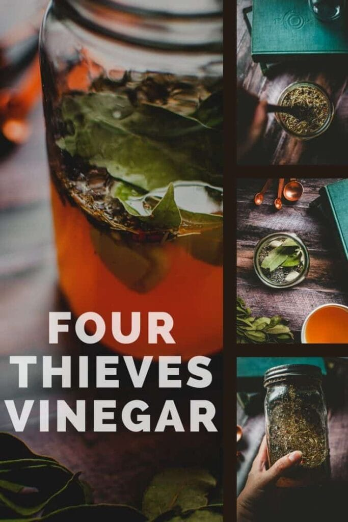 pinterest pin image for how to make four thieves vinegar