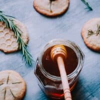 honey jar wooden honey spoon shortbread cookies