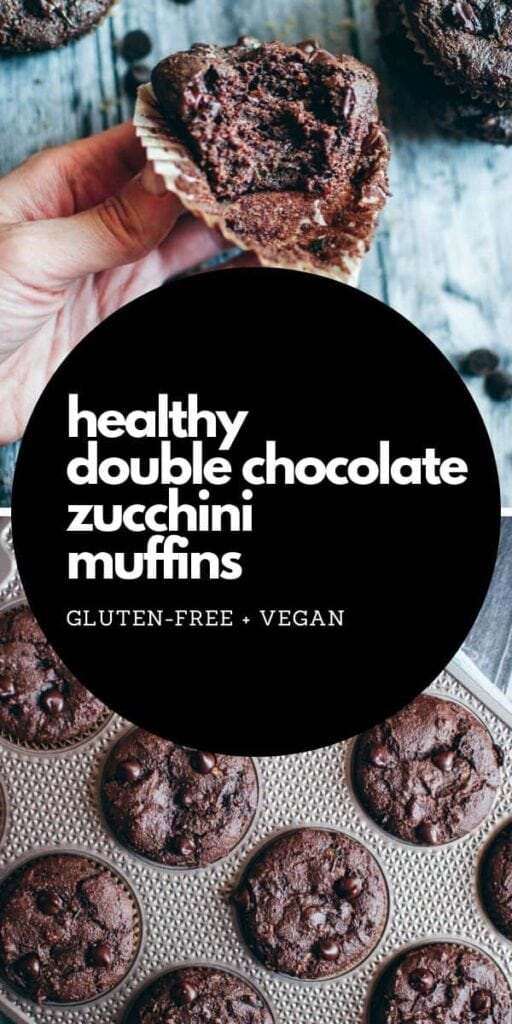 a pinterest pin for chocolate zucchini muffins
