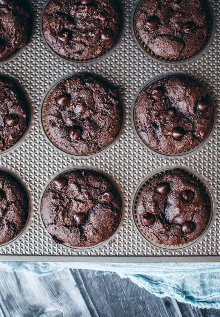 a top view of chocolate muffins in a muffin tin