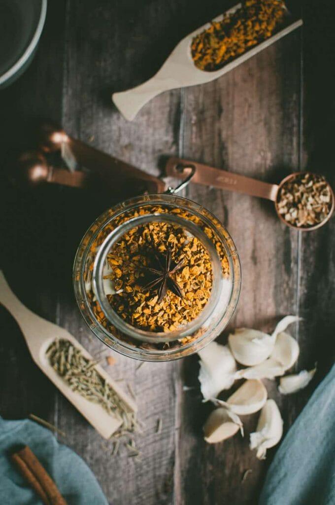 a jar of turmeric root top view