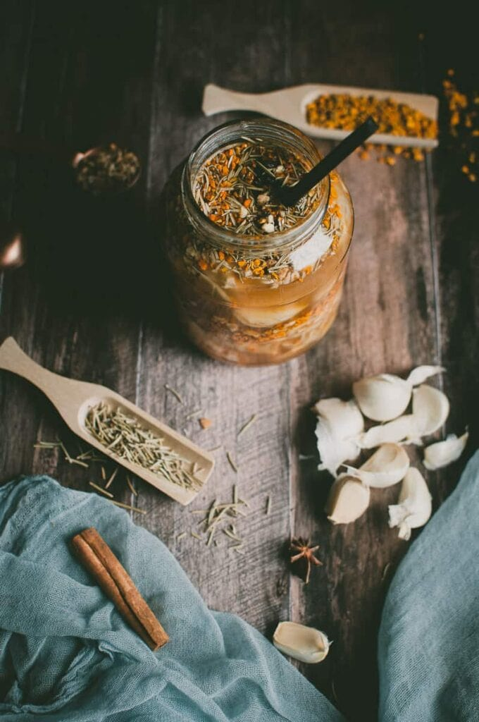a flatlay of fire cider ingredients styled
