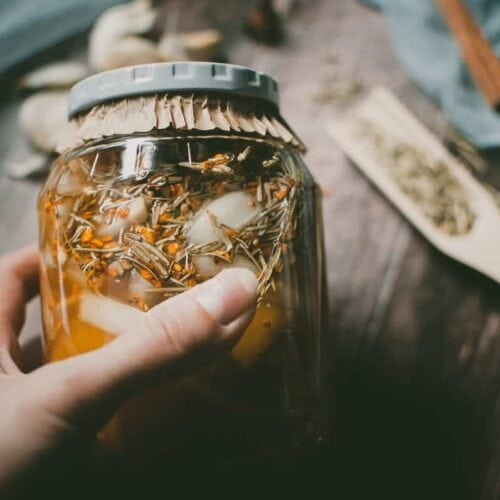 a hand holding a jar filled with vinegar and herbs