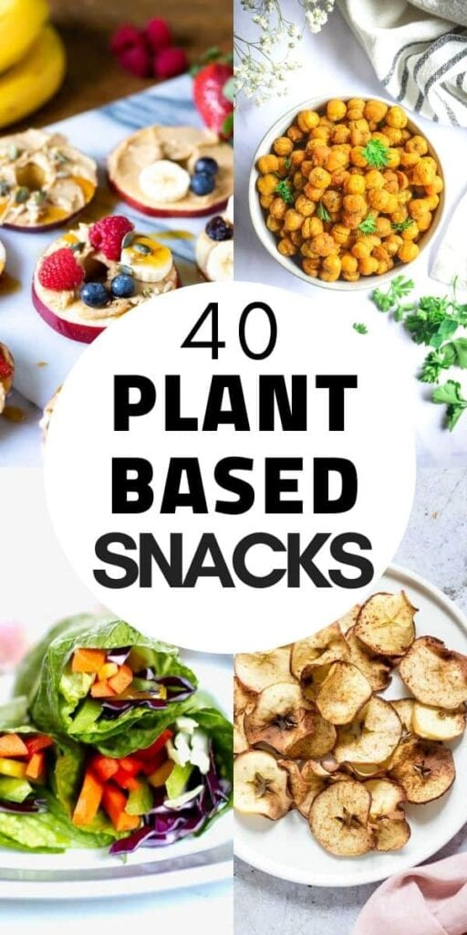a pinterest pin for plant based snacks recipes
