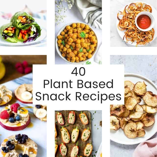 a pinterest pin for plant based snack recipes