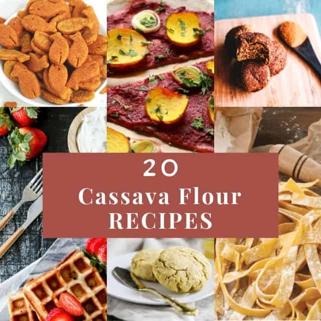 a six image grid of cassava flour recipes