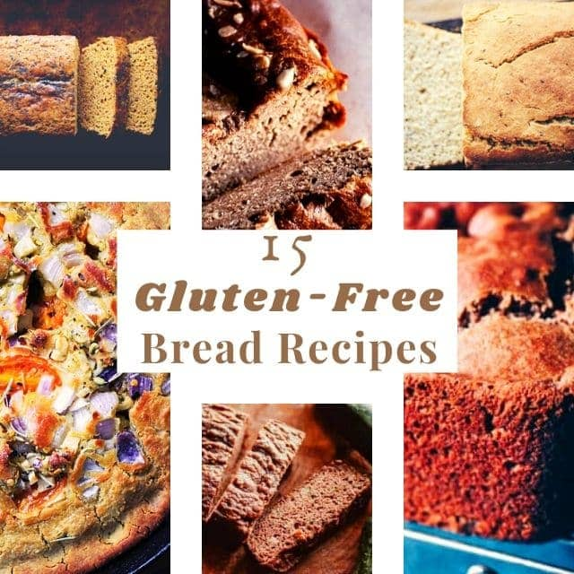 a six image grid of gluten free breads