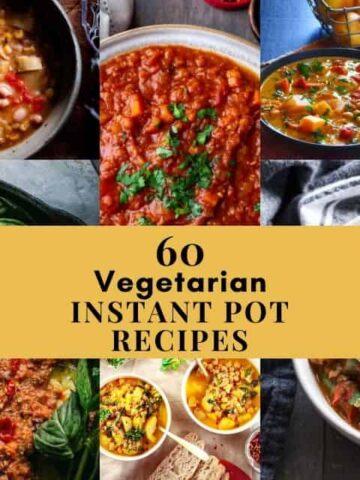 a six image grid of instant pot vegetarian recipes