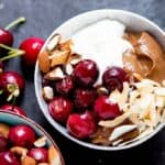Avocado chocolate mousse bowl with roasted cherries square FS