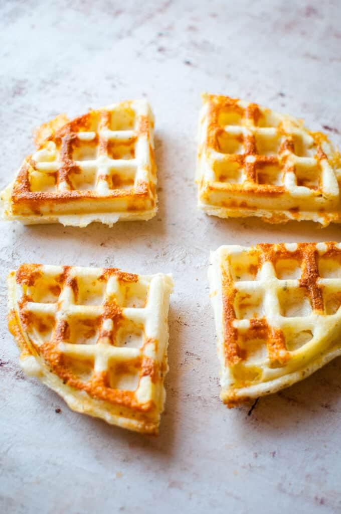 4 crispy cheesy waffles