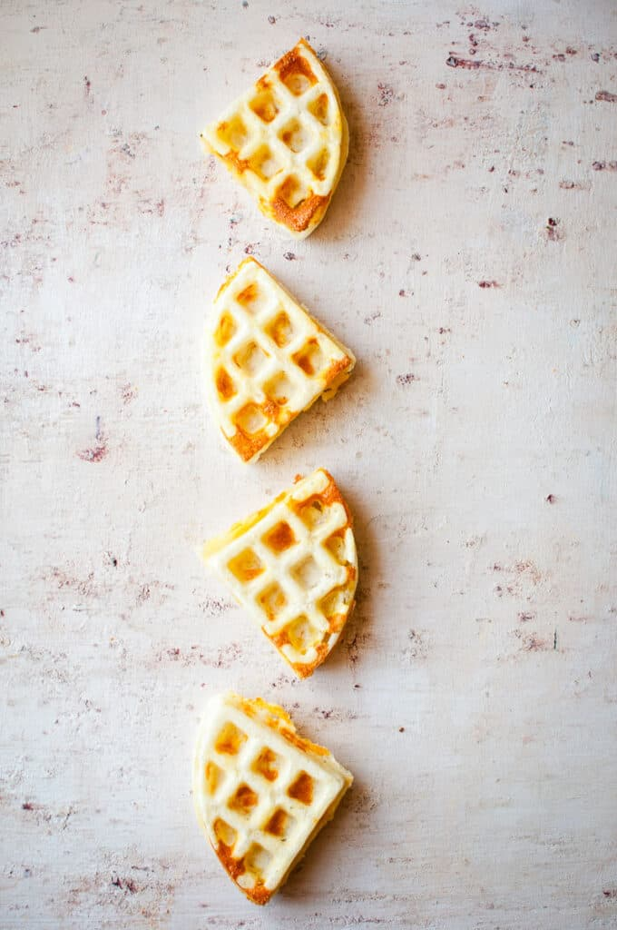 four waffles vertically placed
