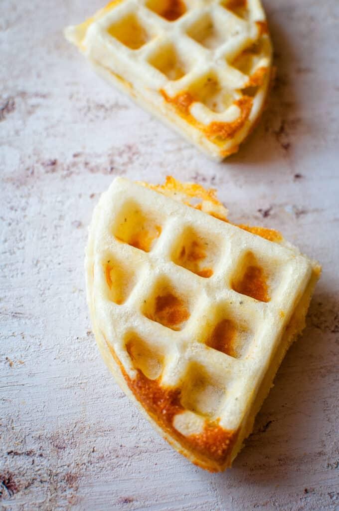 a close up of a gluten free savory waffle