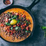 azuki curry in cast iron pan