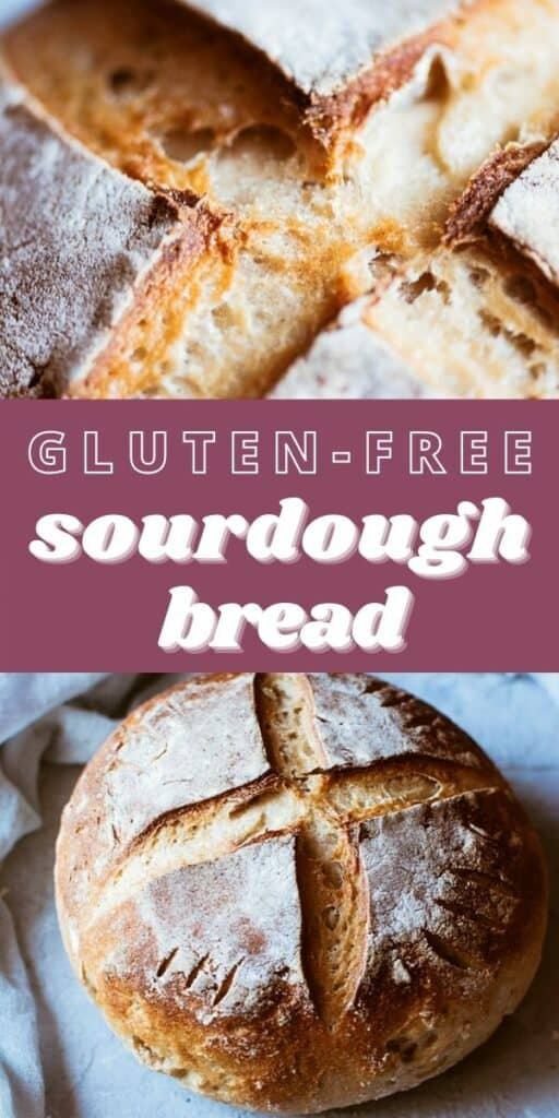a pinterest pin for gluten free sourdough