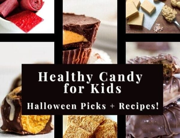 a six image grid of healthy candy recipes pinterest pin