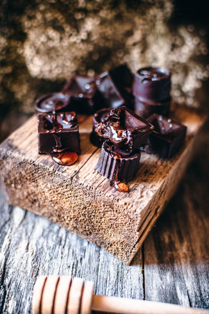 chocolate oozing with red honey