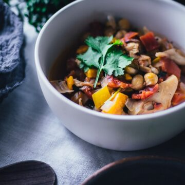 a white bowl filled with vegan jackfruit chili