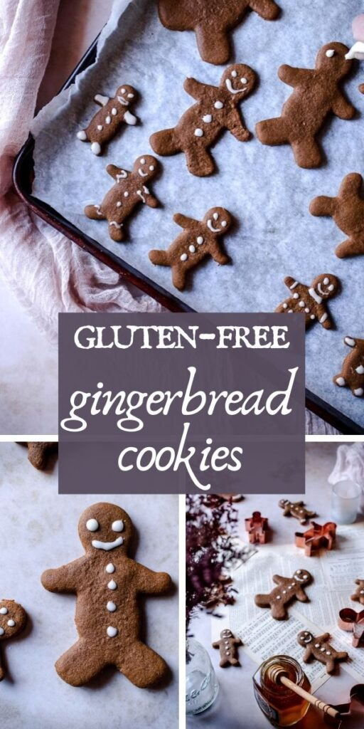 a pinterest pin for gluten free gingerbread men cookies