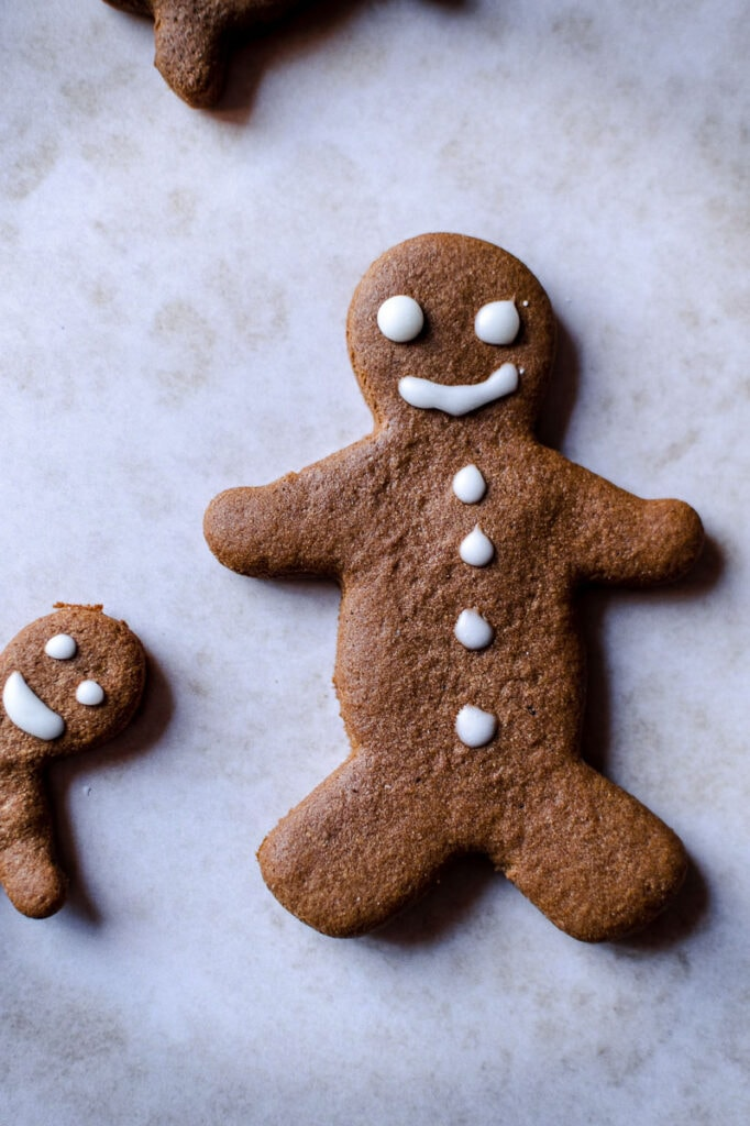 a close up of a gluten free gingerbread cookie