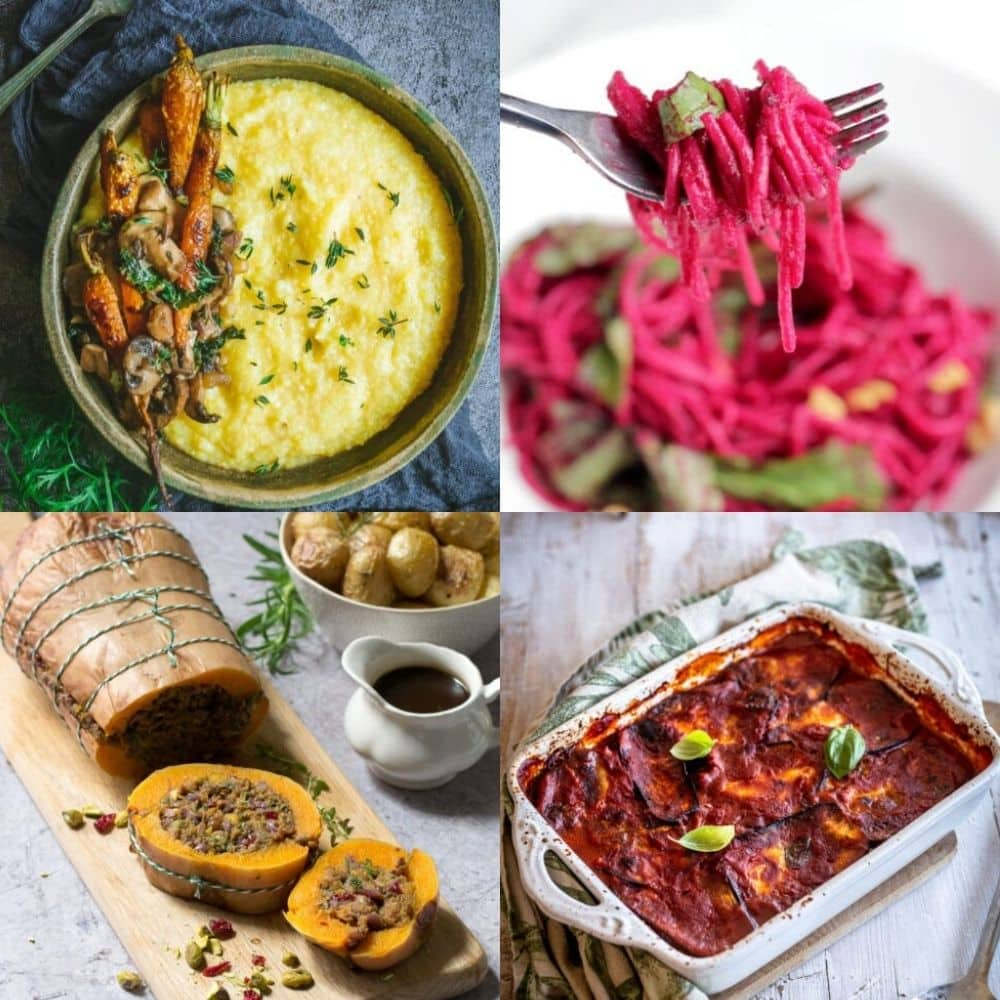 a 4 image grid of vegetarian christmas recipes