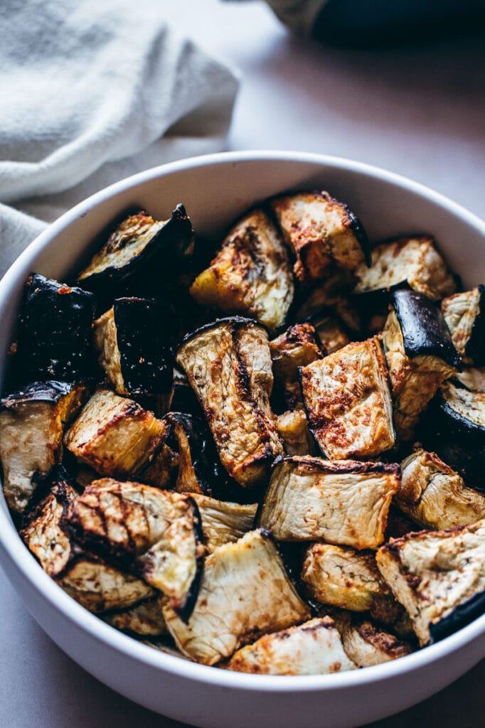 eggplant in a white bowl
