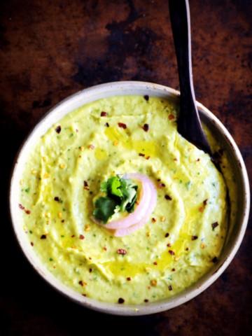 Spicy Cilantro Avocado Hummus (Vegan, Gluten-Free)