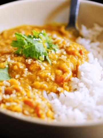 Spicy Coconut Red Lentil Dal Recipe (Instant Pot + Stovetop)
