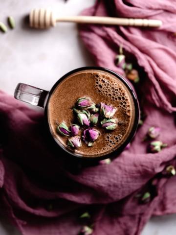 chocolate moon milk with rose cardamom moon