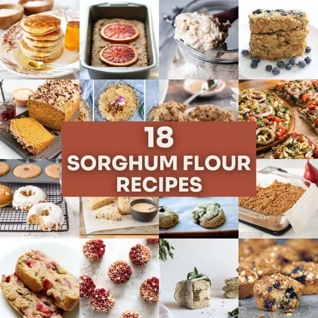 an image grid of gluten free sorghum flour recipes