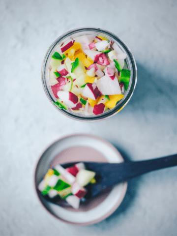 cucumber salsa recipe in a jar