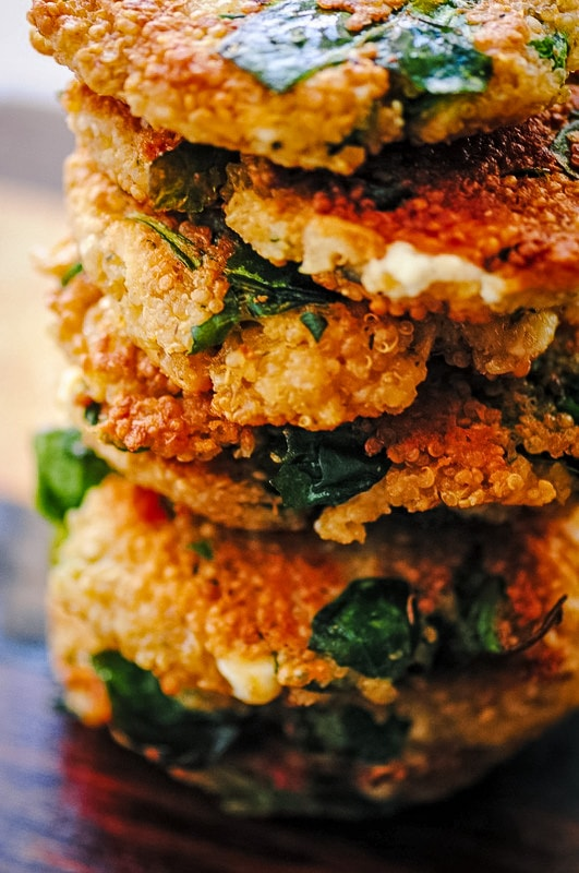a side view of cheesy quinoa cakes