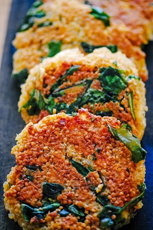 cheesy crispy quinoa patties with greens