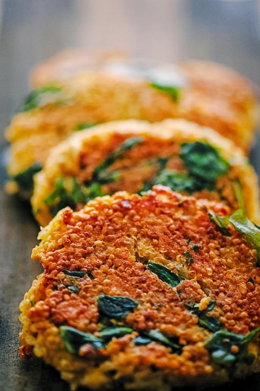 a close view of a quinoa patty