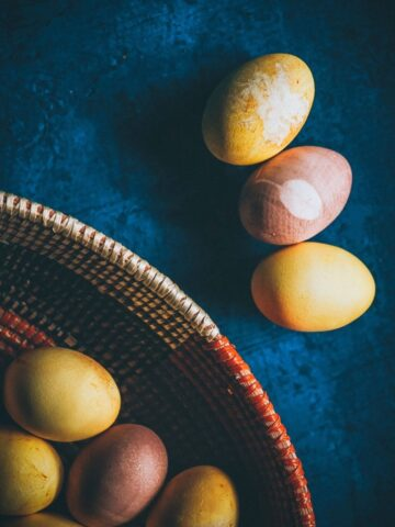 naturally dyed easter eggs with nature prints