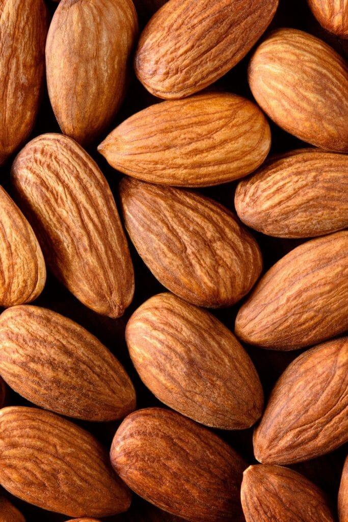 a close up macro shot of almonds