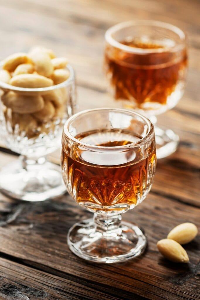 a glass of almond liqueur