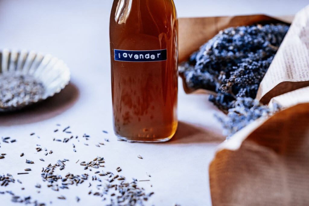 a clear swing top bottled labeled lavender