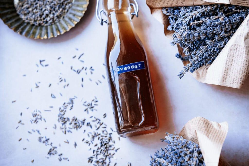 a bottle of lavender sugar syrup