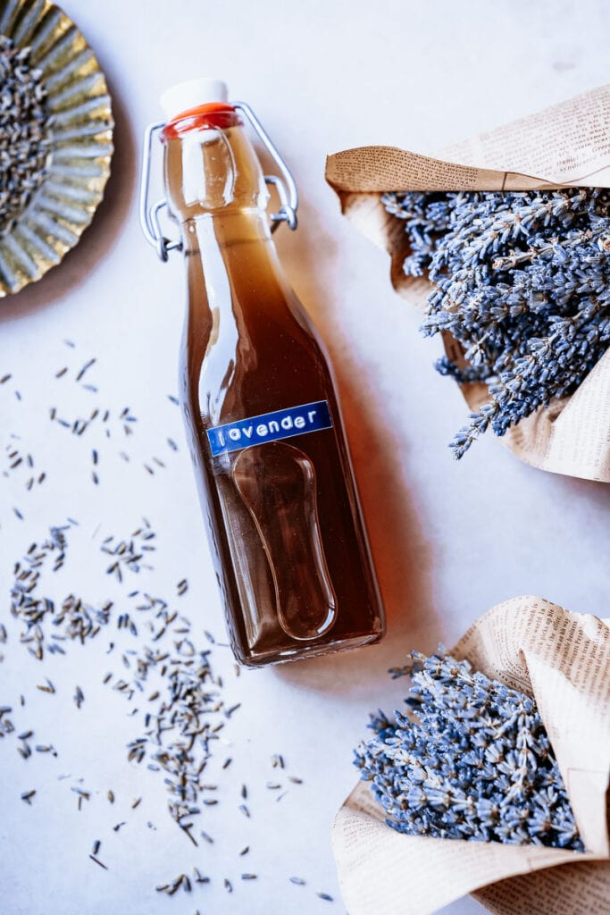 a bottle of homemade lavender syrup
